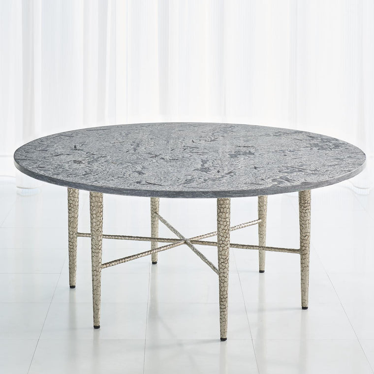 Hammered Cocktail Table - Antique Nickel w/Grey Marble