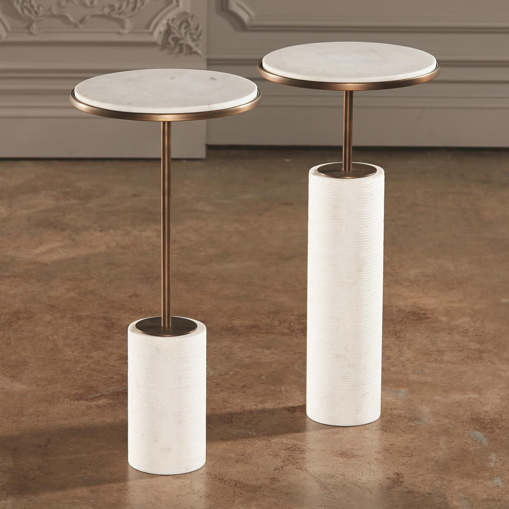 Tall Cored Marble Table - Bronze - Grats Decor Interior Design & Build Inc.