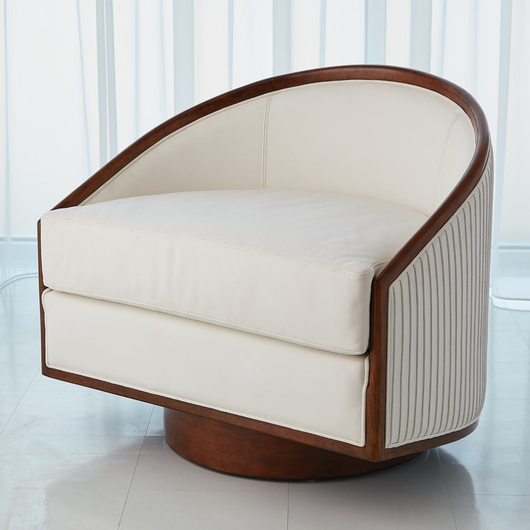 Swivel Chair - White Leather