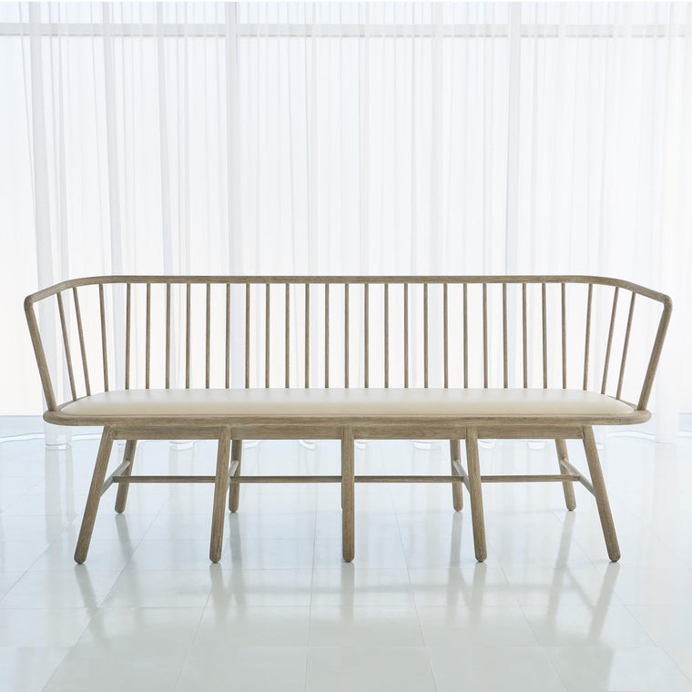 Spindle Long Bench - Beige Leather - Grats Decor Interior Design & Build Inc.