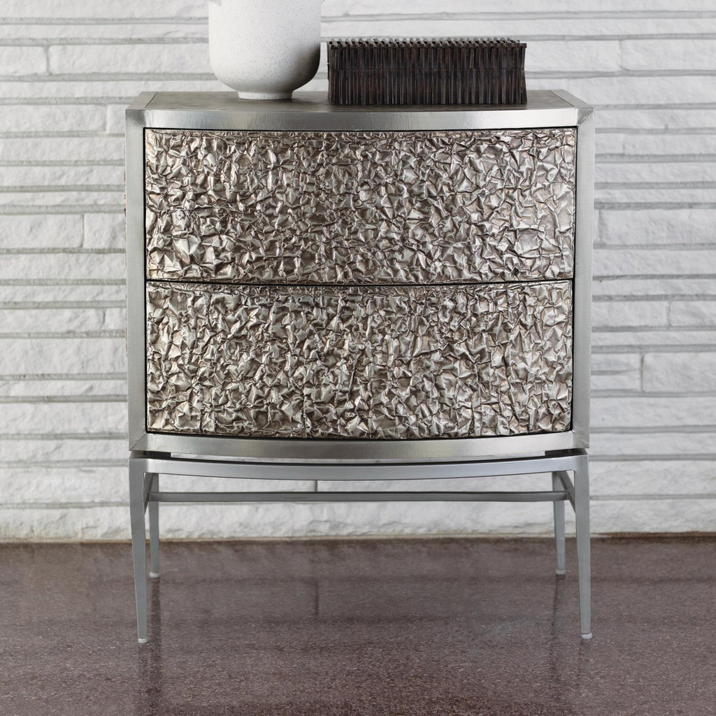 Crinkle Bedside Chest - Nickel/ Antique Nickel - Grats Decor Interior Design & Build Inc.