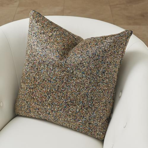 "Multi Beaded 20"" Pillow - Gold"