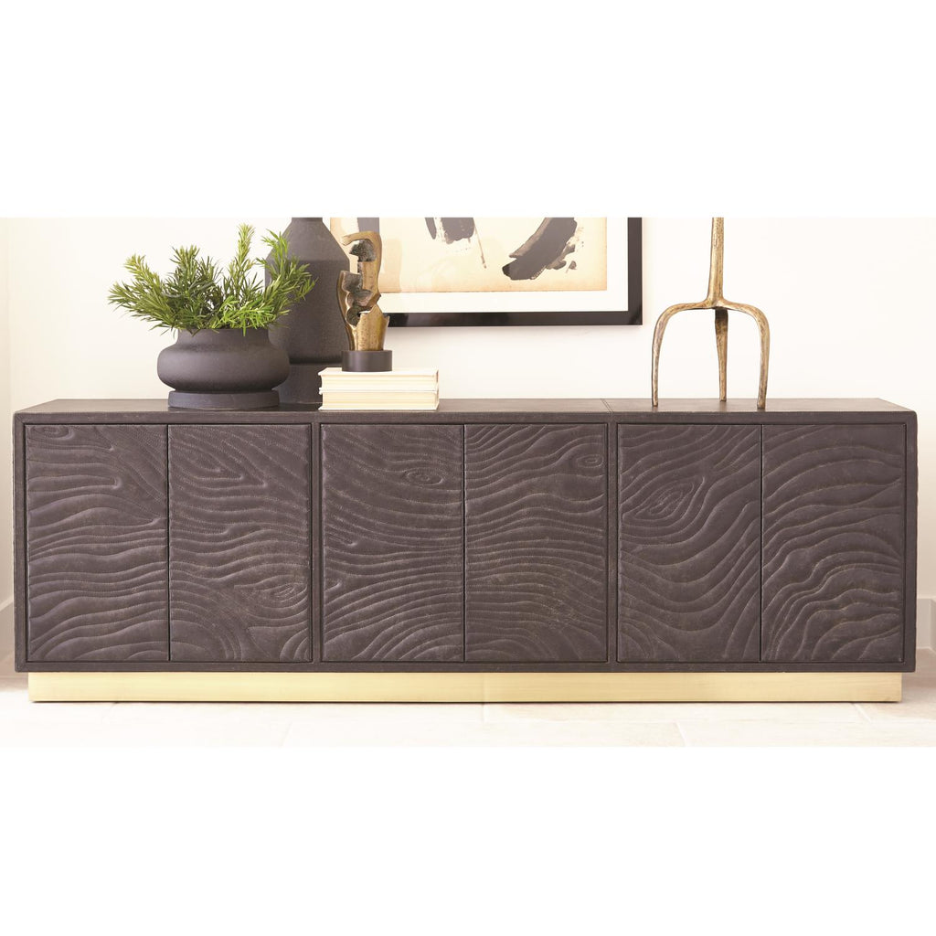 Forest Long Cabinet - Charcoal Leather - Grats Decor Interior Design & Build Inc.