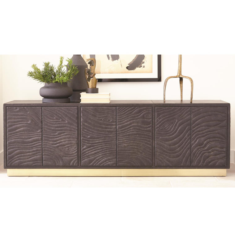 Forest Long Cabinet - Charcoal Leather