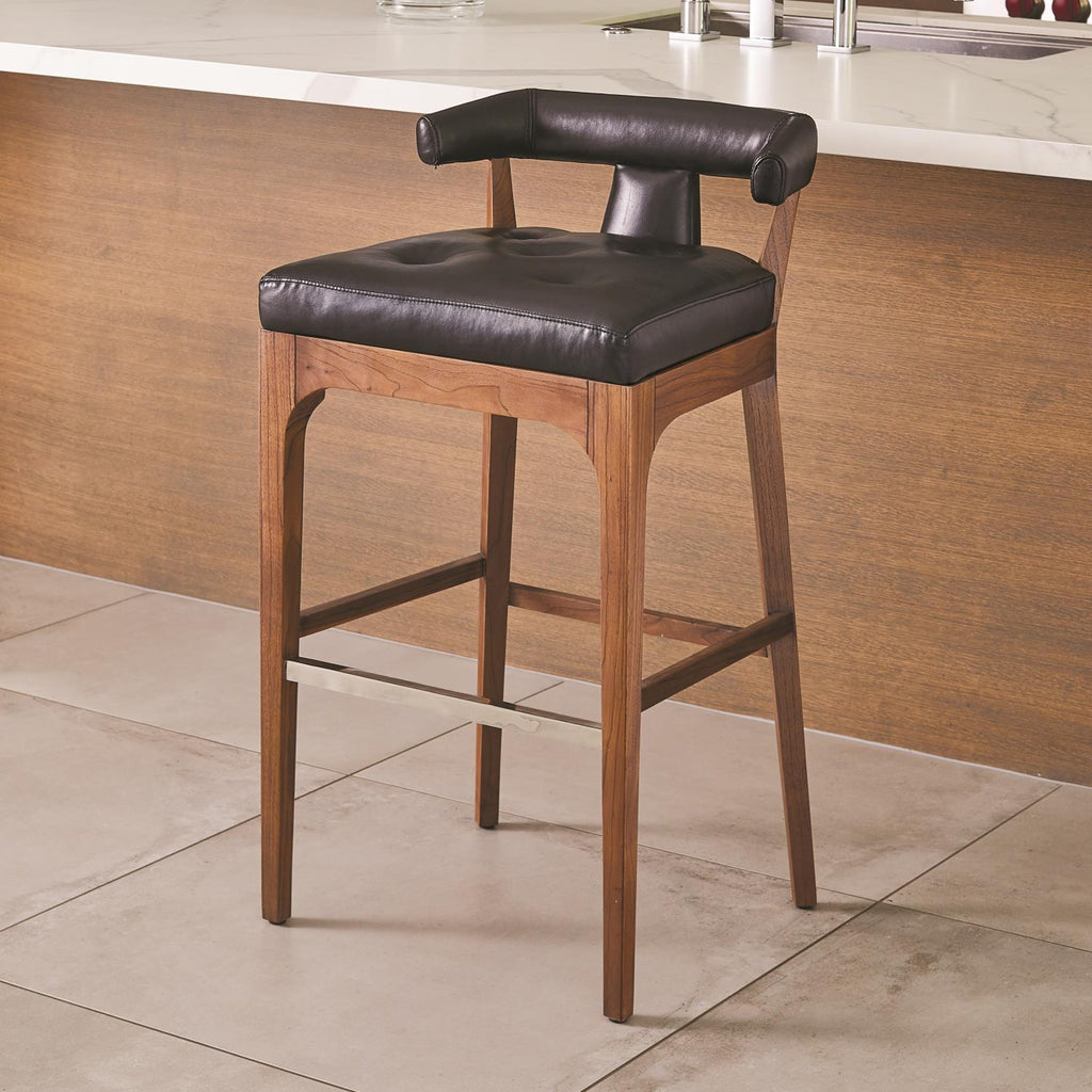 Moderno Bar Stool - Black Marble Leather - Grats Decor Interior Design & Build Inc.