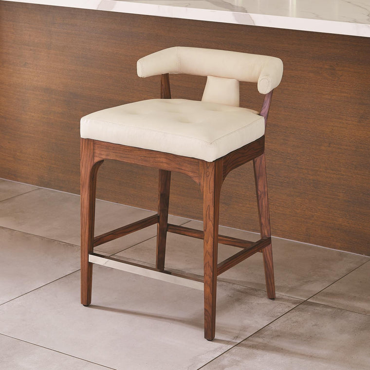 Moderno Counter Stool - Ivory Marble Leather