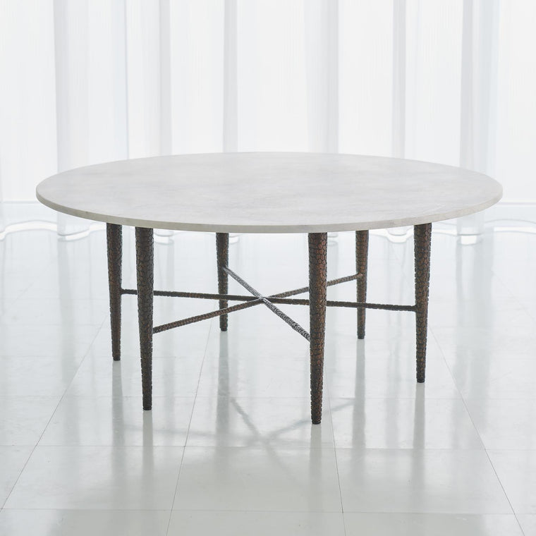 Hammered Cocktail Table - Bronze w/White Marble - Grats Decor Interior Design & Build Inc.