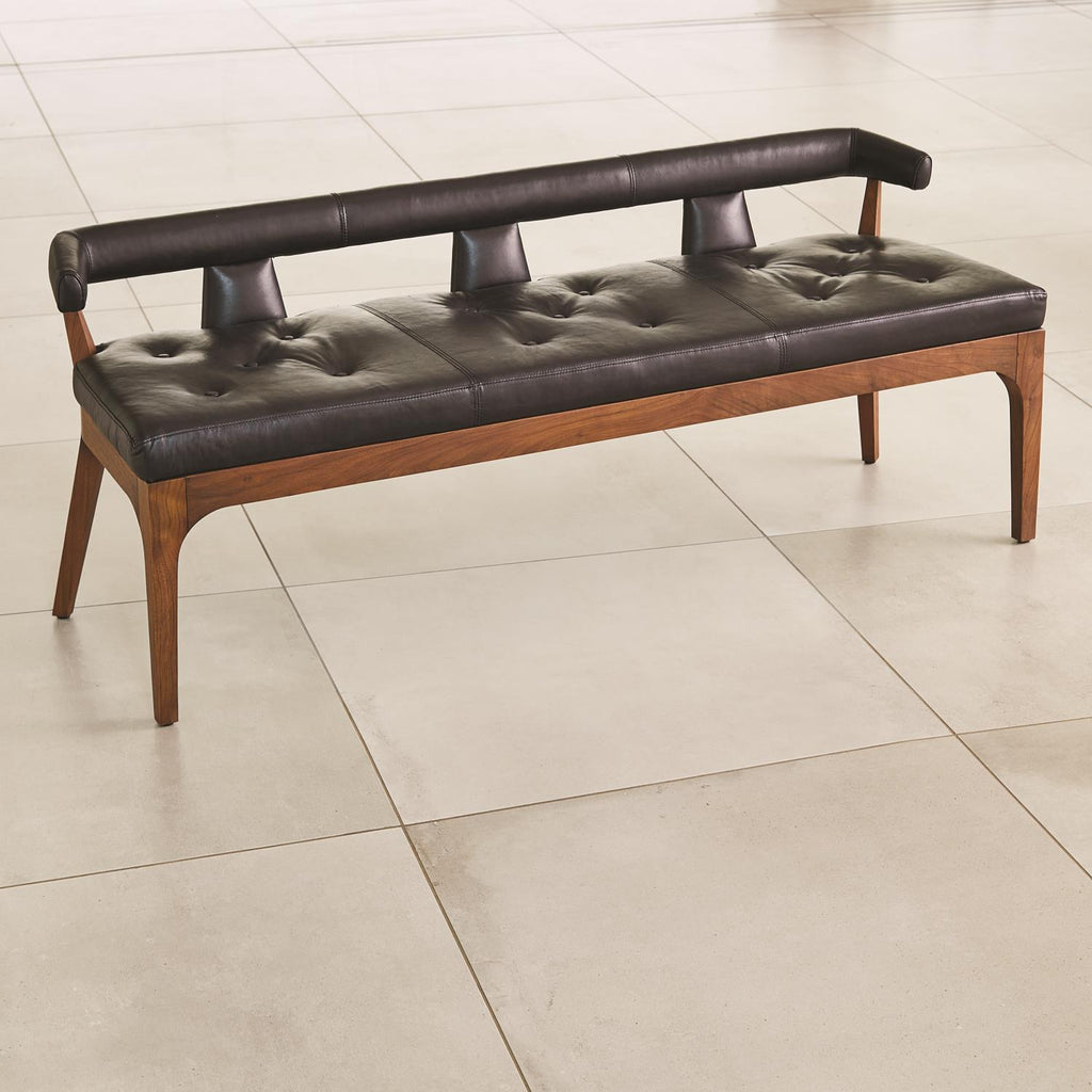Moderno Bench - Black Marble Leather - Grats Decor Interior Design & Build Inc.