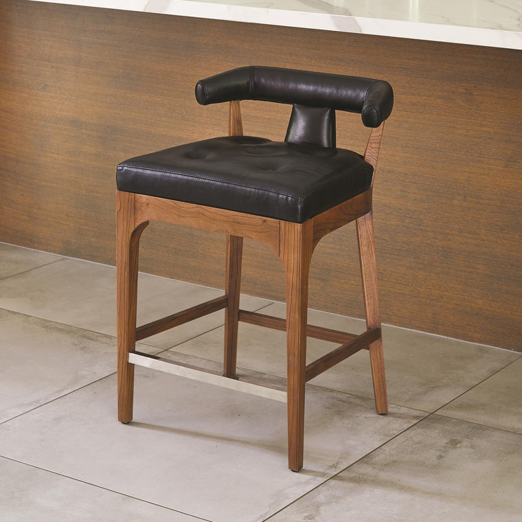 Moderno Counter Stool - Black Marble Leather