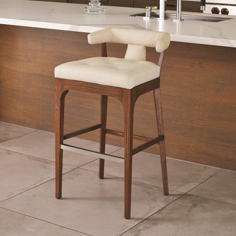 Moderno Bar Stool - Ivory Marble Leather