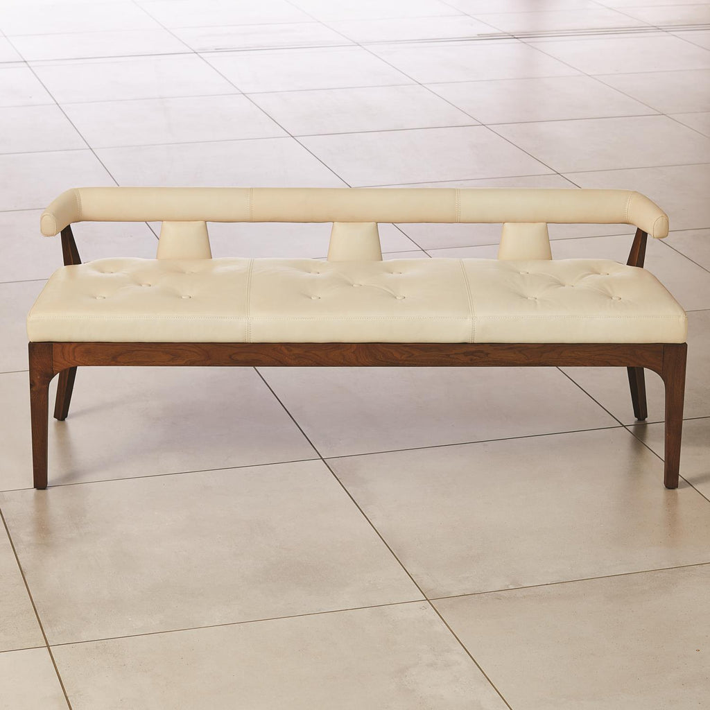 Moderno Bench - Ivory Marble Leather - Grats Decor Interior Design & Build Inc.
