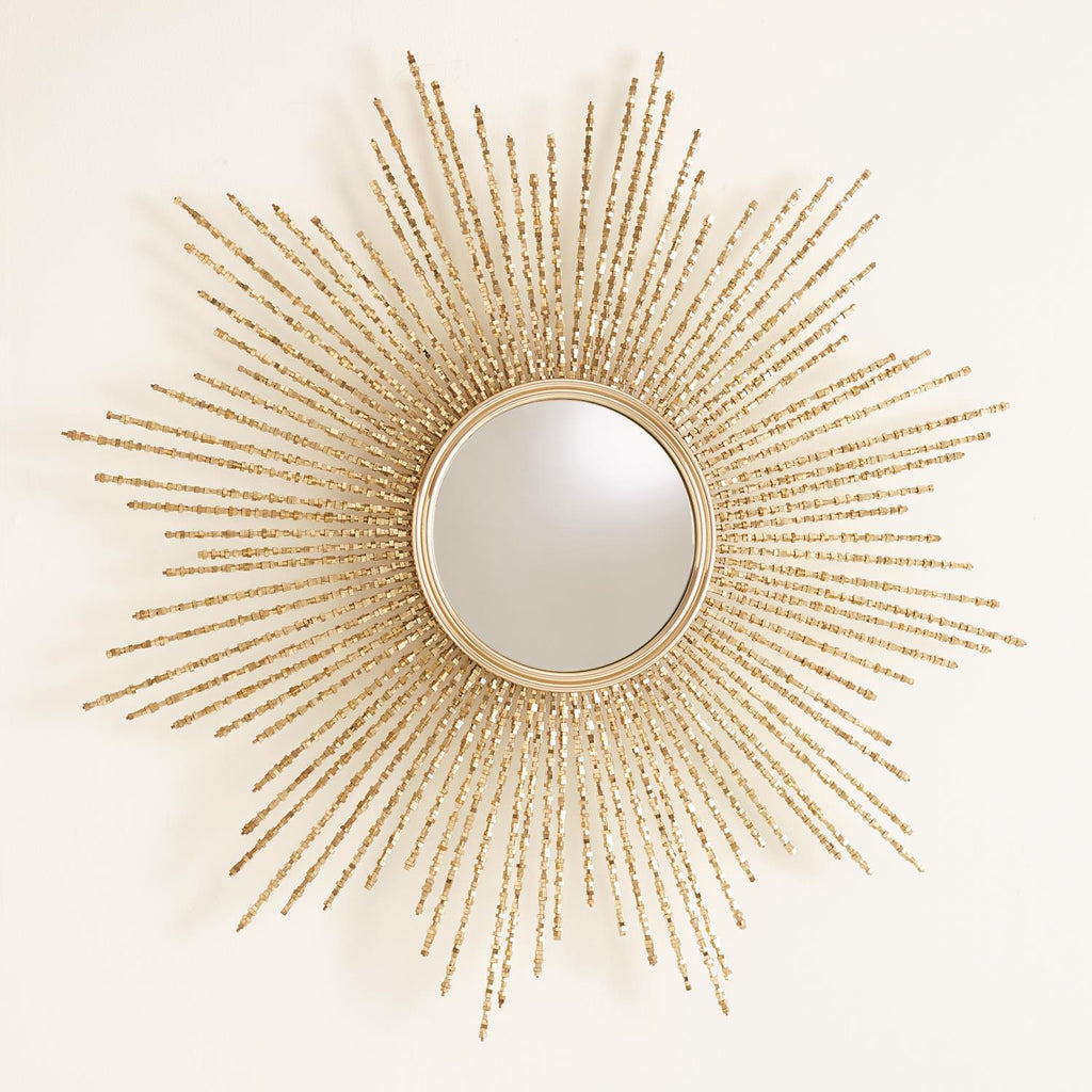 Square Beaded Burst Mirror - Brass - Grats Decor Interior Design & Build Inc.