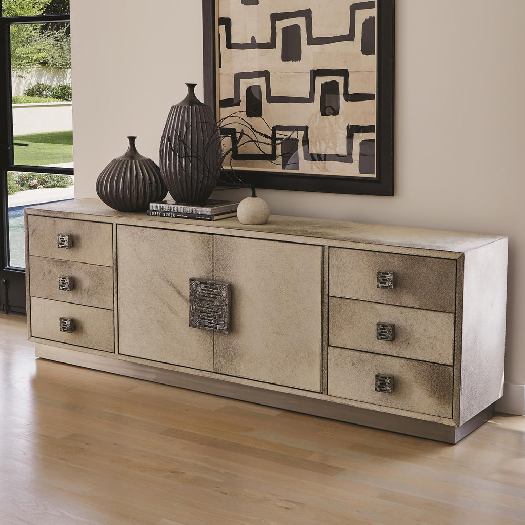 Metro Long Cabinet - Hair on Hide - Grey - Grats Decor Interior Design & Build Inc.