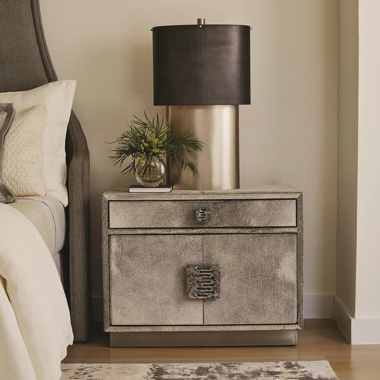 Metro Nightstand - Hair on Hide - Grey
