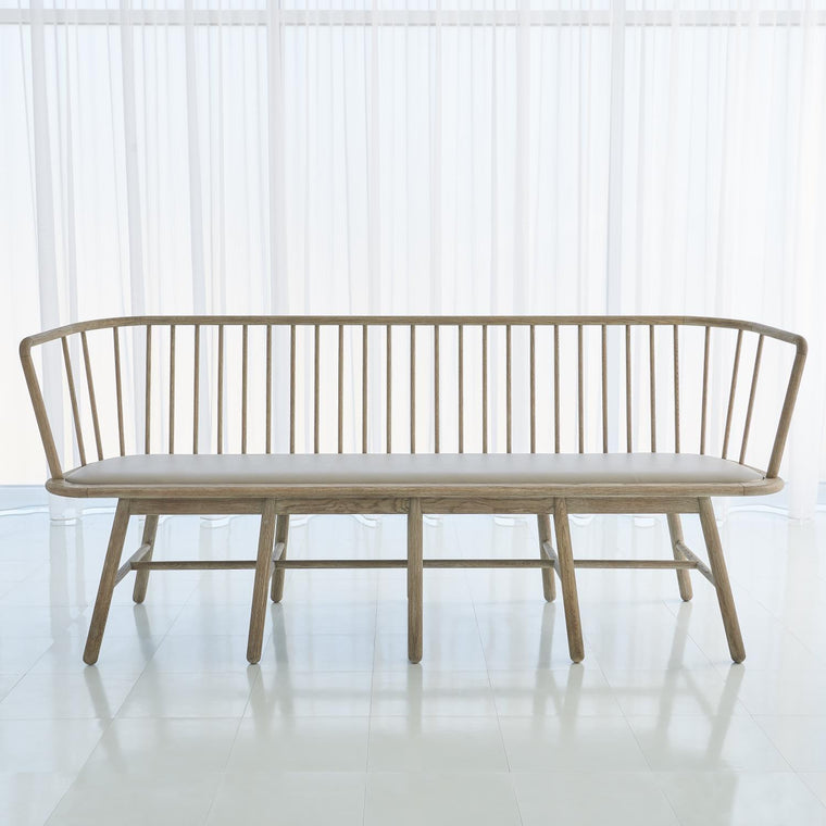 Spindle Long Bench - Grey Leather