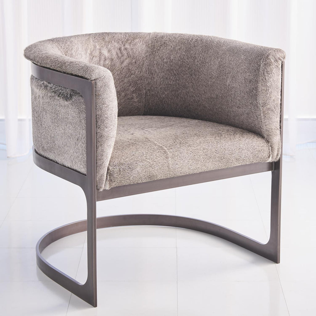 Regan Barrel Chair - Hair on Hide - Grey/ Antique Gunmetal - Grats Decor Interior Design & Build Inc.