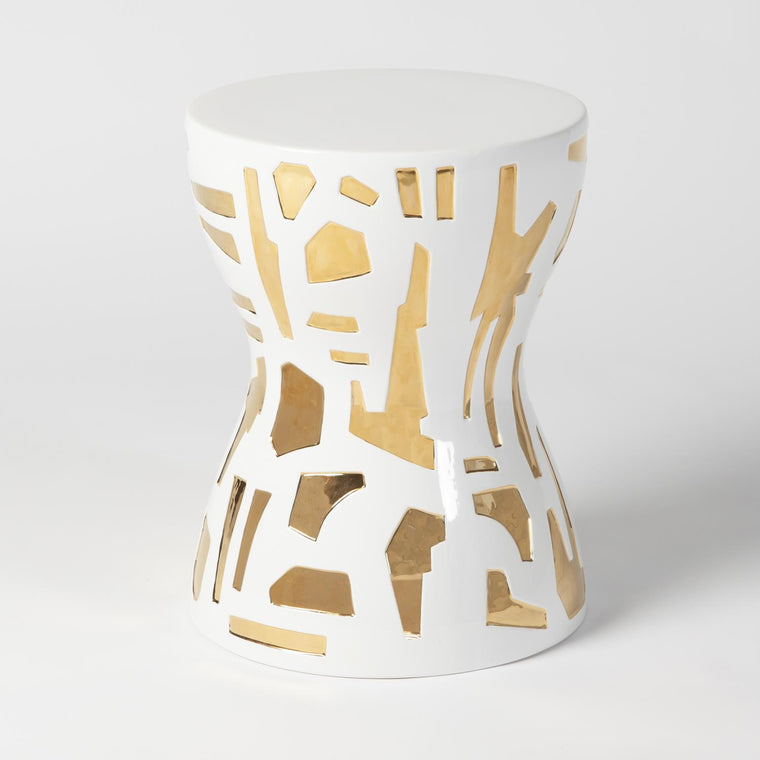 Abstract Gold/White Stool - Grats Decor Interior Design & Build Inc.