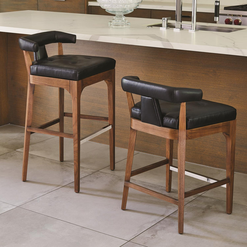 Moderno Counter Stool - Black Marble Leather - Grats Decor Interior Design & Build Inc.