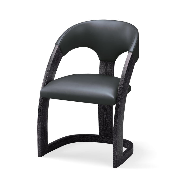 Delia Chair - Ebony Cerused - Graphite Leather - Grats Decor Interior Design & Build Inc.
