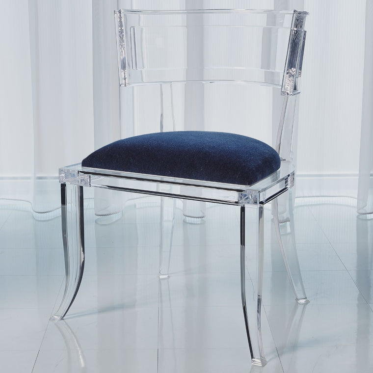 Klismos Acrylic Chair - Admiral Blue - Grats Decor Interior Design & Build Inc.