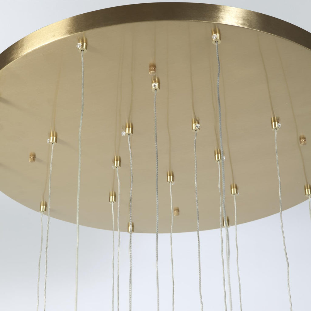 Leo Chandelier-20 Drop Round-Satin Brass - Grats Decor Interior Design & Build Inc.