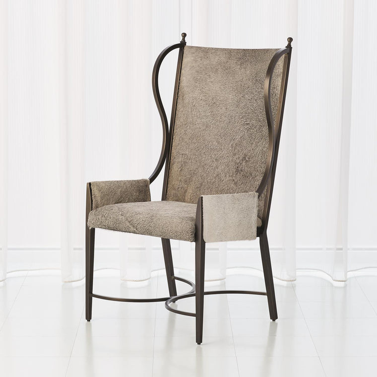 Iron Wing Chair - Grey Hair-on-Hide - Grats Decor Interior Design & Build Inc.