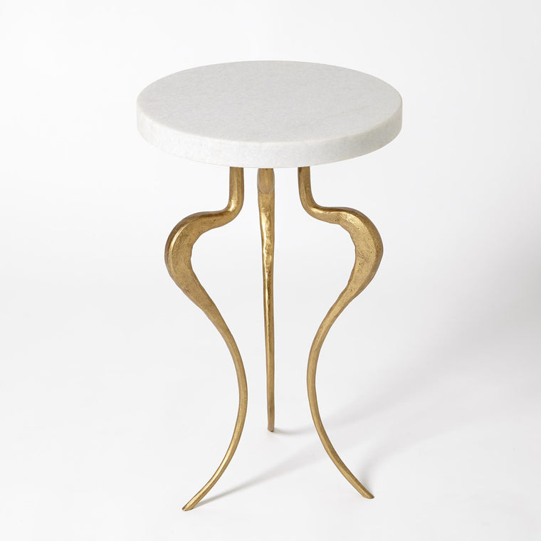 Silhouette Accent Table-Antique Gold w/White Honed Marble Top