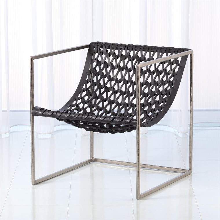 Knit Pearl Chair-Nickel - Dark Grey Leather - Grats Decor Interior Design & Build Inc.