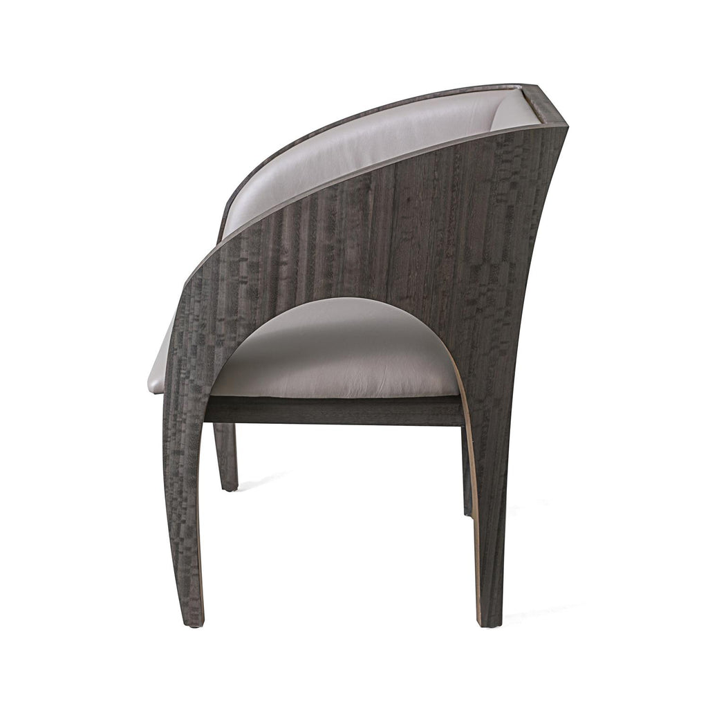Arches Dining Chair - Grey Leather - Grats Decor Interior Design & Build Inc.