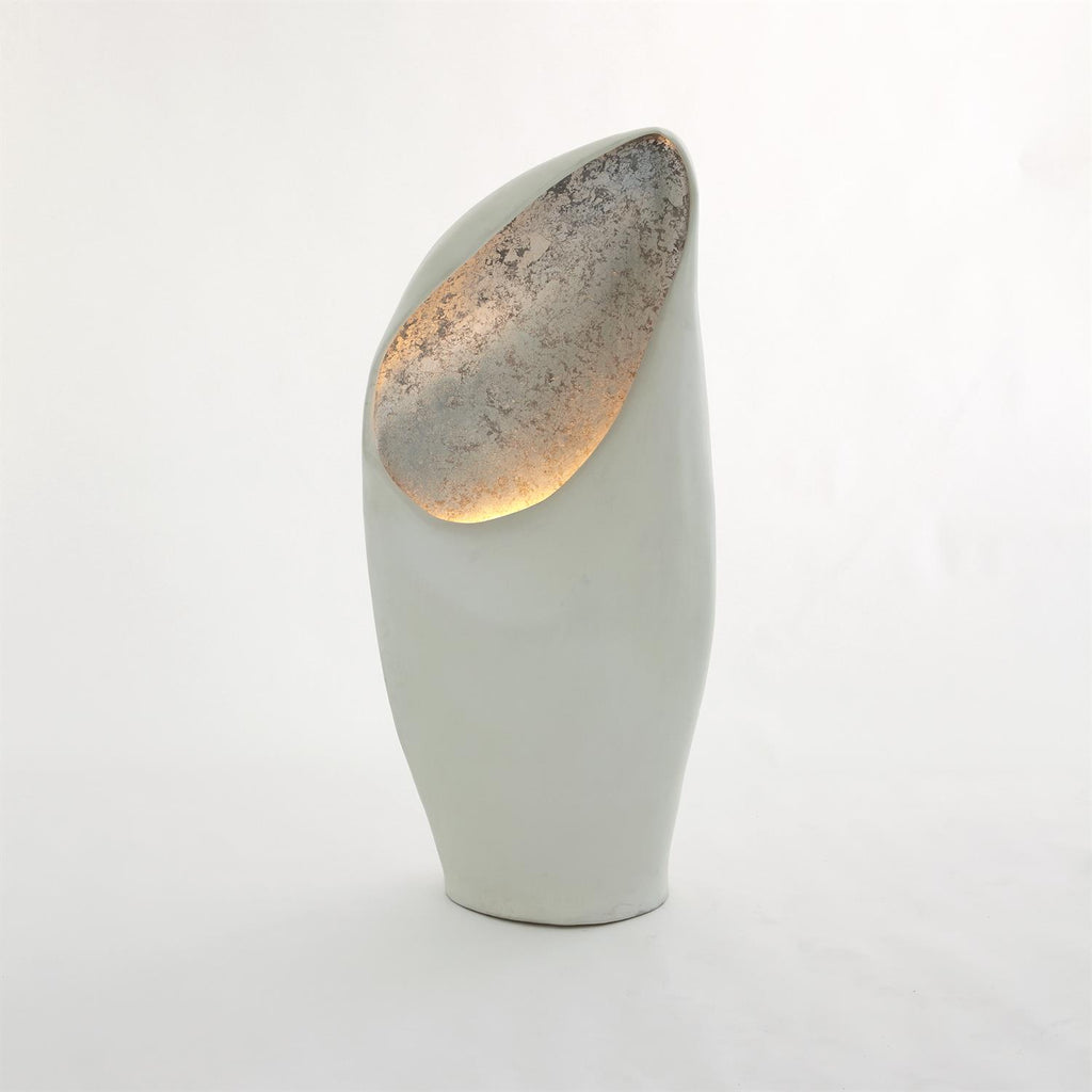 Cowl Lamp - White w/Silver Leaf - Grats Decor Interior Design & Build Inc.