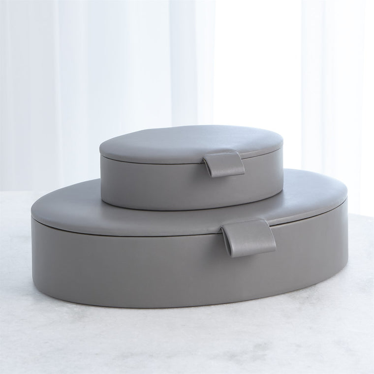 Barbara Barry Signature Oval Leather Box - Marble Gray