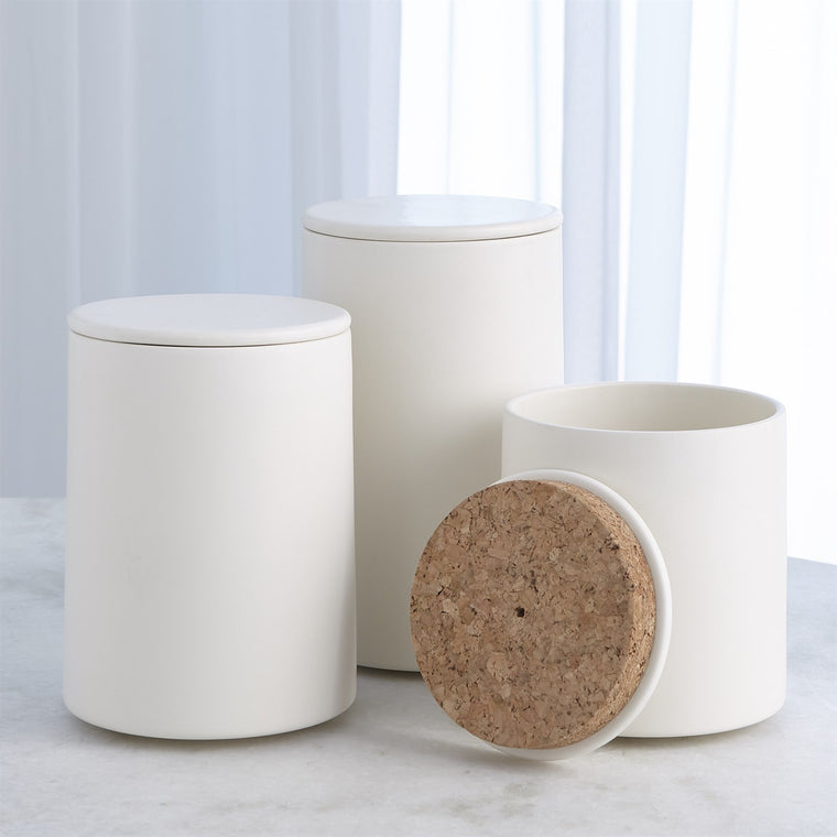 Barbara Barry Encircle Canister w/Cork Lid-Chalk - 3 sizes