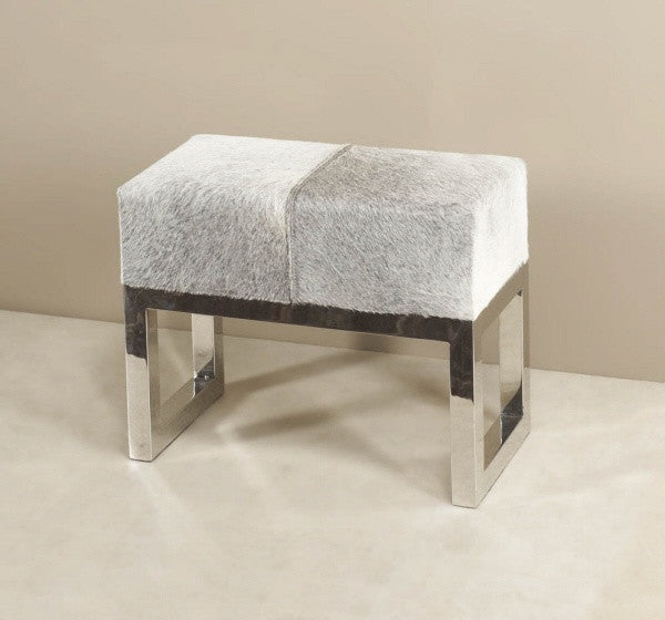 "Gray Hide 23"" Stool/Ottoman - Grats Decor Interior Design & Build Inc."