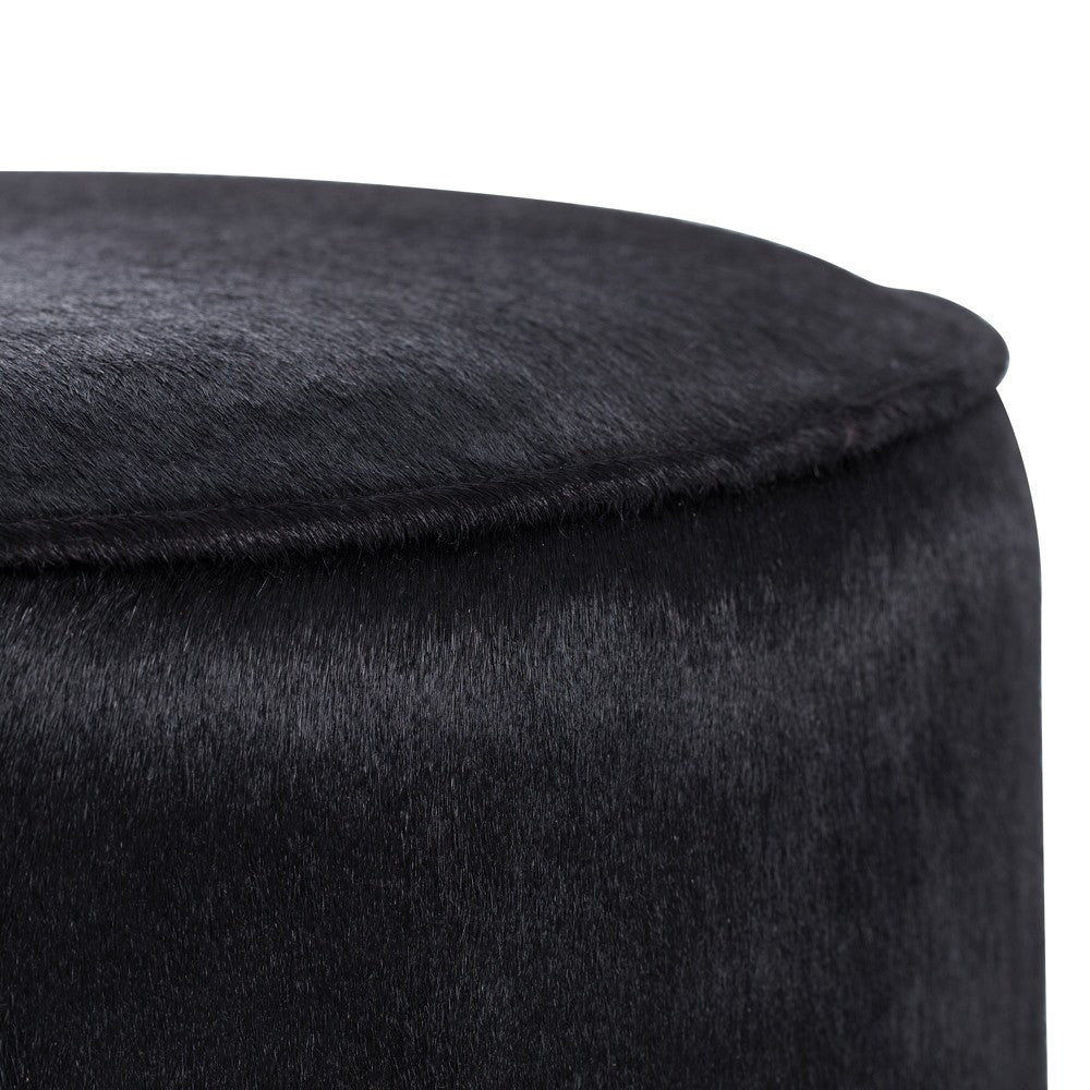 "Pratt 17""Dia Ottoman - Black Hide - Grats Decor Interior Design & Build Inc."