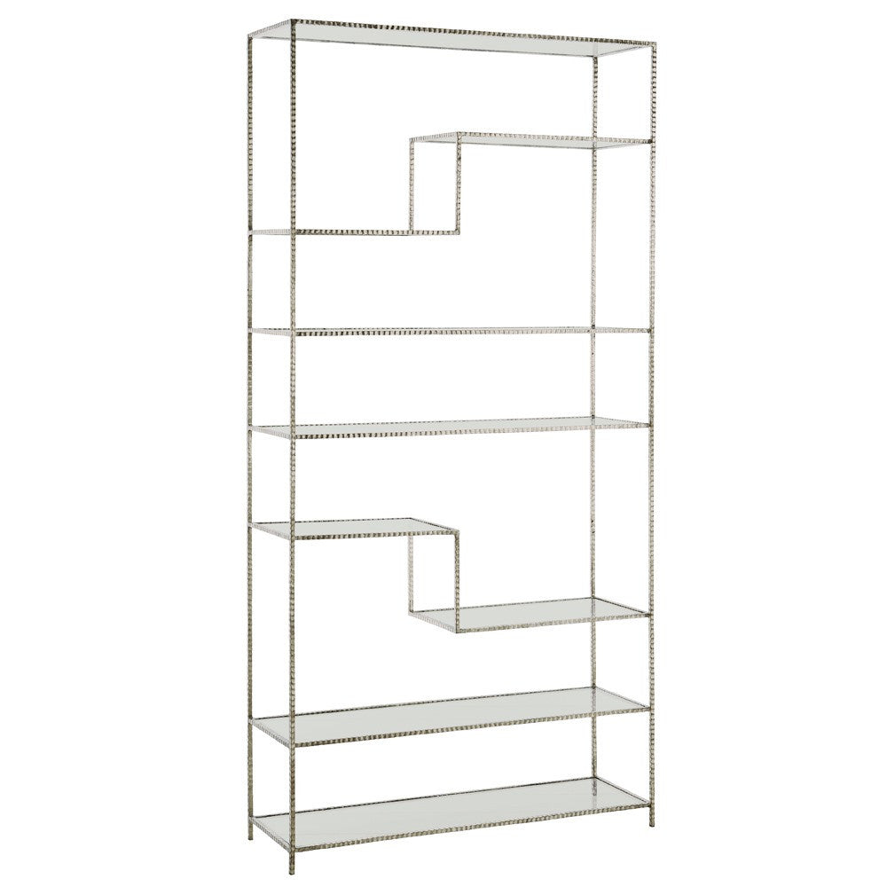 "Worchester 40""W x 83""H Bookshelf - Silver Leaf - Grats Decor Interior Design & Build Inc."