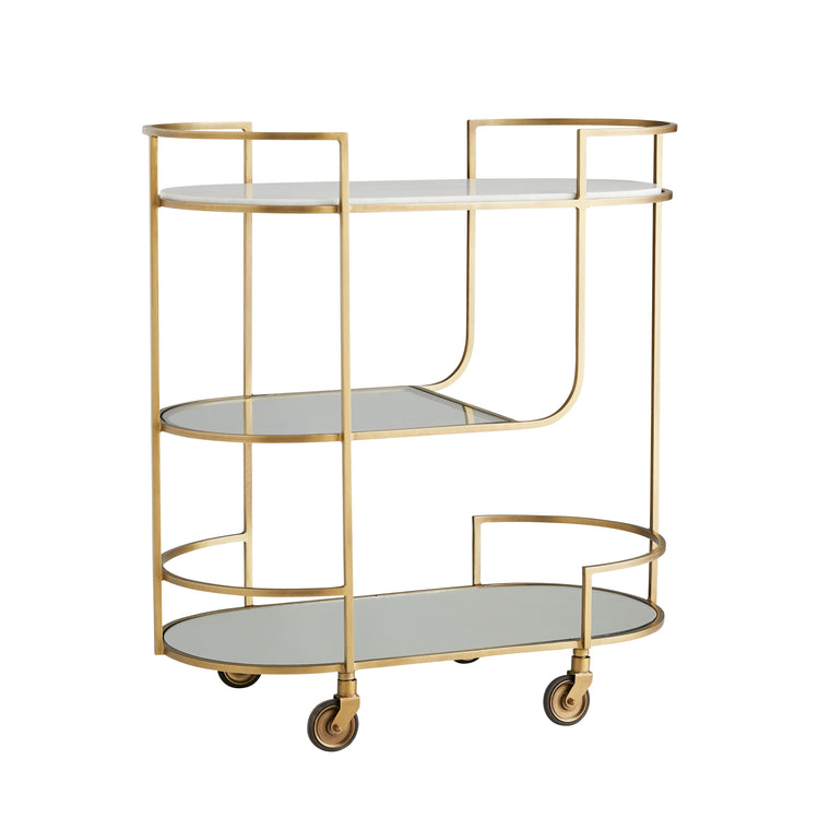 Trainor Bar Cart - Antique Brass - Grats Decor Interior Design & Build Inc.