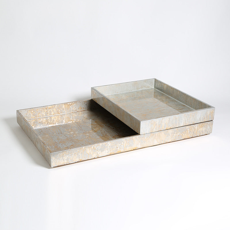 Luxe Rectangle Tray - Champagne Silver Leaf
