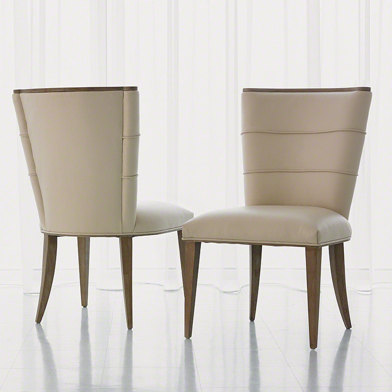 Adelaide Side Chair-Beige Leather - Grats Decor Interior Design & Build Inc.