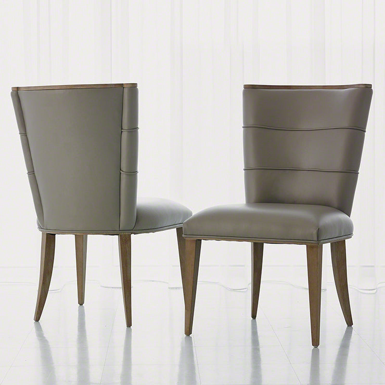 Adelaide Side Chair-Grey Leather - Grats Decor Interior Design & Build Inc.