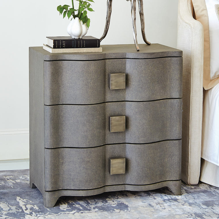 "Toile 28""W Linen Bedside Chest - Grey - Grats Decor Interior Design & Build Inc."