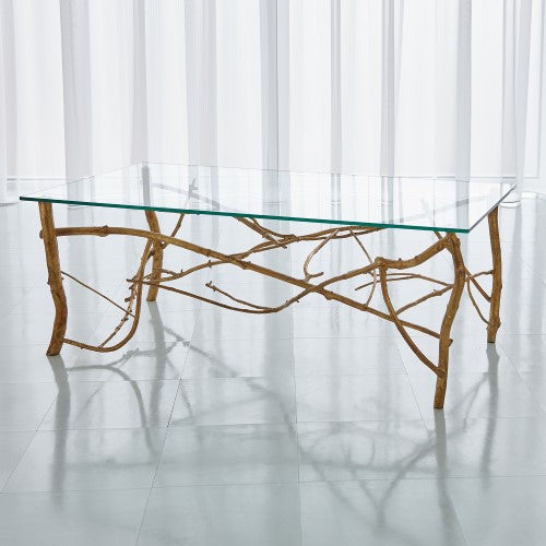 "Twig 50"" Cocktail Table-Gold Leaf"