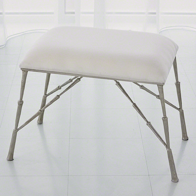Spike Bench with Muslin Cushion - Antique Nickel - Grats Decor Interior Design & Build Inc.