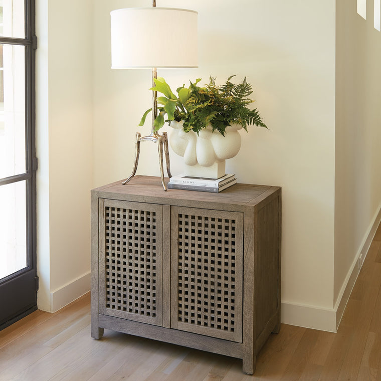 "Driftwood 36""W Lattice 2-Door Cabinet - Grey - Grats Decor Interior Design & Build Inc."