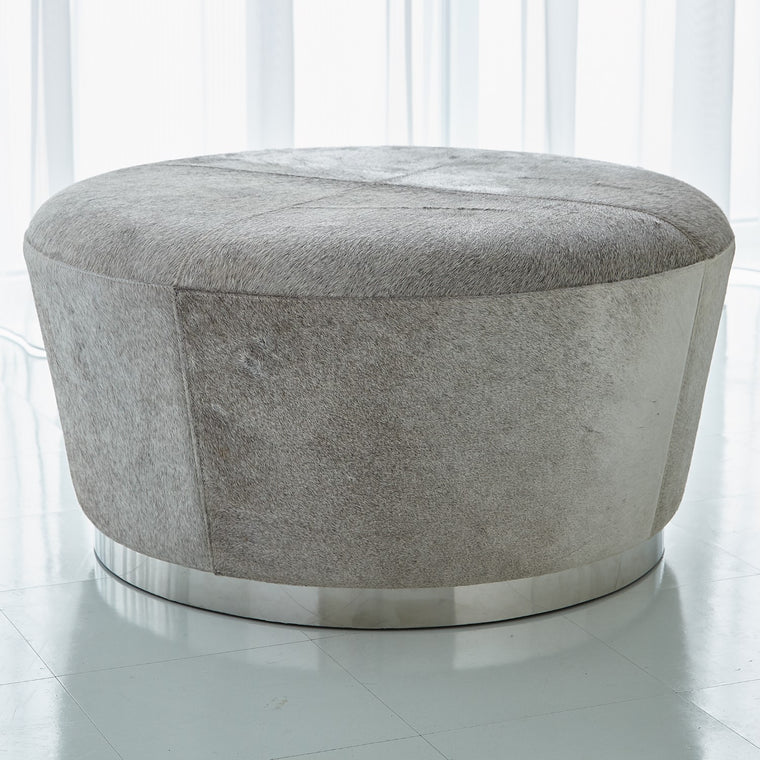 Tapered Ottoman - Hair on Hide - Grey - Grats Decor Interior Design & Build Inc.