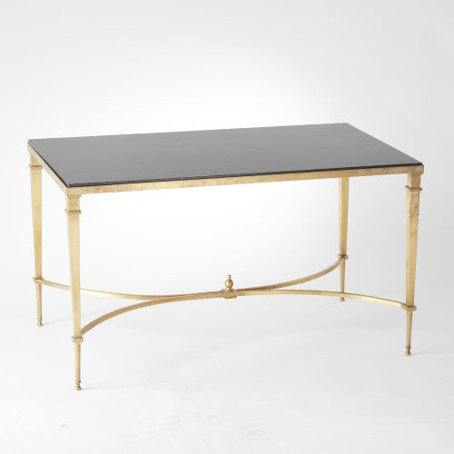 French Square Leg Cocktail Table Brass Black Granite Grats