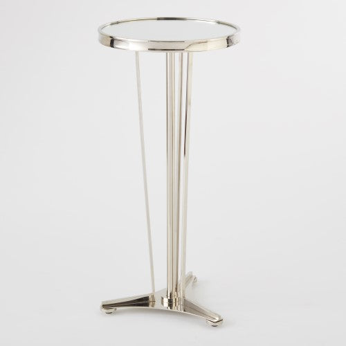 "French Moderne 12""Dia Side Table-Nickel w/Mirror Top"