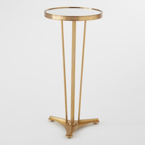 "French Moderne 12""Dia Side Table-Antique Brass w/Mirror Top"