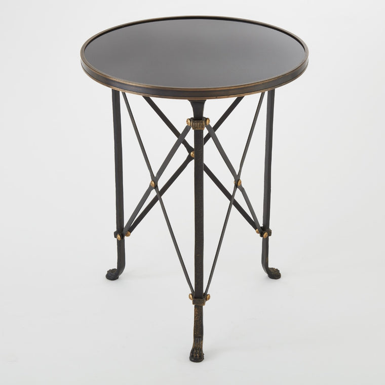 Directoire Round Table - Iron w/ Black Granite - Grats Decor Interior Design & Build Inc.