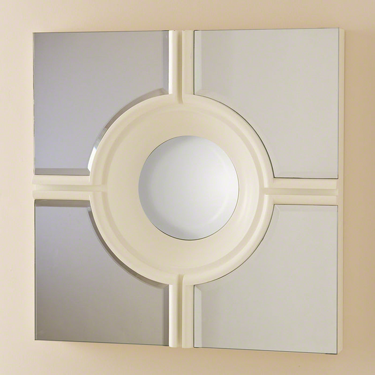 Bull's Eye Cross Mirror - White - Grats Decor Interior Design & Build Inc.