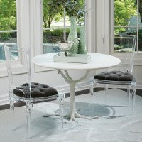 "Faux Bois 42""Dia Dining Table - White"